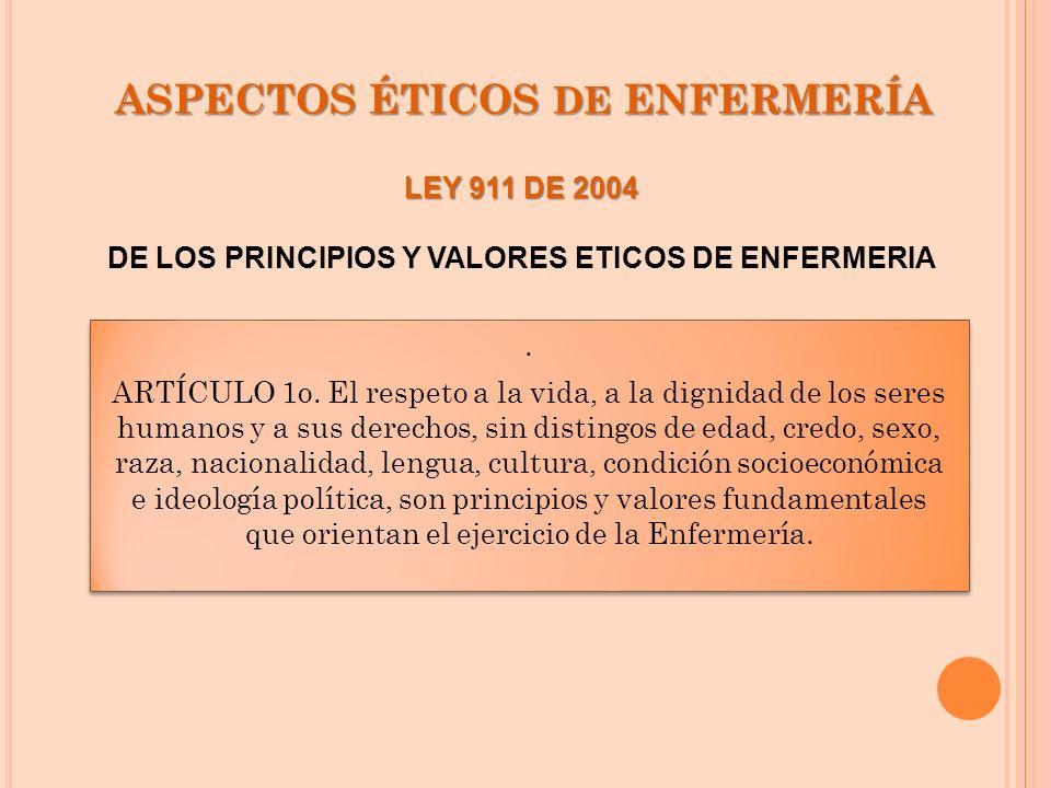 ASPECTOS ÉTICOS DE ENFERMERÍA. ARTÍCULO 1o. El respeto a la vida, a la dignidad de los seres humanos y a sus derechos, sin distingos de edad, credo, s
