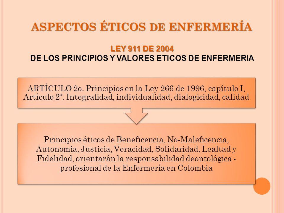 ASPECTOS ÉTICOS DE ENFERMERÍA Principios éticos de Beneficencia, No-Maleficencia, Autonomía, Justicia, Veracidad, Solidaridad, Lealtad y Fidelidad, or