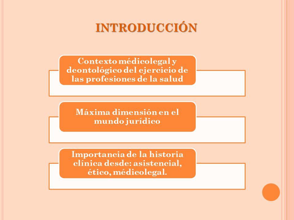 INTRODUCCIÓN Contexto médicolegal y deontológico del ejercicio de las profesiones de la salud Máxima dimensión en el mundo jurídico Importancia de la