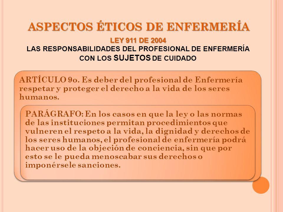 ASPECTOS ÉTICOS DE ENFERMERÍA ARTÍCULO 9o. Es deber del profesional de Enfermería respetar y proteger el derecho a la vida de los seres humanos. PARÁG
