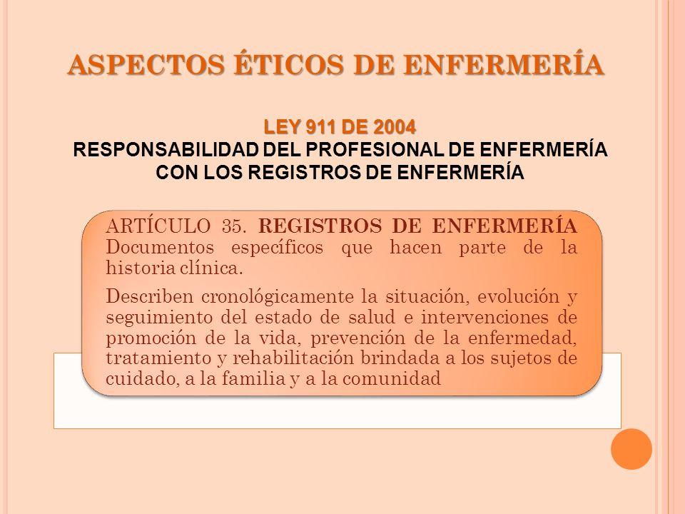 ASPECTOS ÉTICOS DE ENFERMERÍA ARTÍCULO 35. REGISTROS DE ENFERMERÍA Documentos específicos que hacen parte de la historia clínica. Describen cronológic