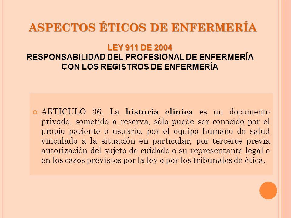 ASPECTOS ÉTICOS DE ENFERMERÍA ARTÍCULO 36. La historia clínica es un documento privado, sometido a reserva, sólo puede ser conocido por el propio paci
