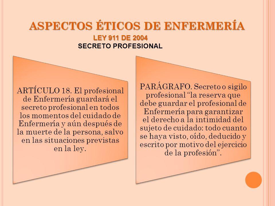 ASPECTOS ÉTICOS DE ENFERMERÍA ARTÍCULO 18. El profesional de Enfermería guardará el secreto profesional en todos los momentos del cuidado de Enfermerí