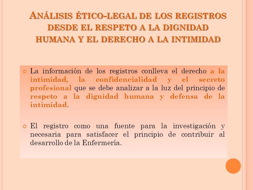 La información de los registros conlleva el derecho a la intimidad, la confidencialidad y el secreto profesional que se debe analizar a la luz del pri