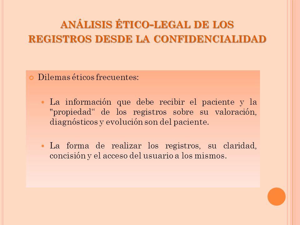 ANÁLISIS ÉTICO - LEGAL DE LOS REGISTROS DESDE LA CONFIDENCIALIDAD Dilemas éticos frecuentes: La información que debe recibir el paciente y la
