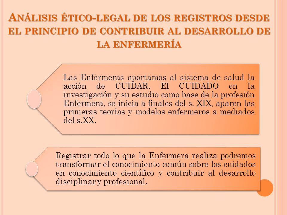A NÁLISIS ÉTICO - LEGAL DE LOS REGISTROS DESDE EL PRINCIPIO DE CONTRIBUIR AL DESARROLLO DE LA ENFERMERÍA Las Enfermeras aportamos al sistema de salud