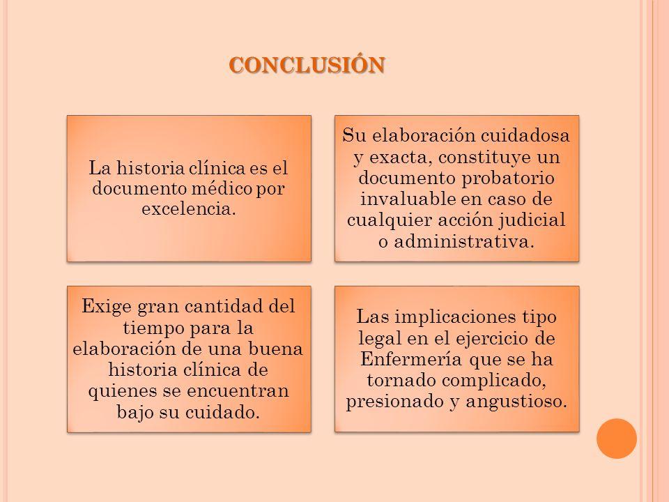 CONCLUSIÓN La historia clínica es el documento médico por excelencia. Su elaboración cuidadosa y exacta, constituye un documento probatorio invaluable