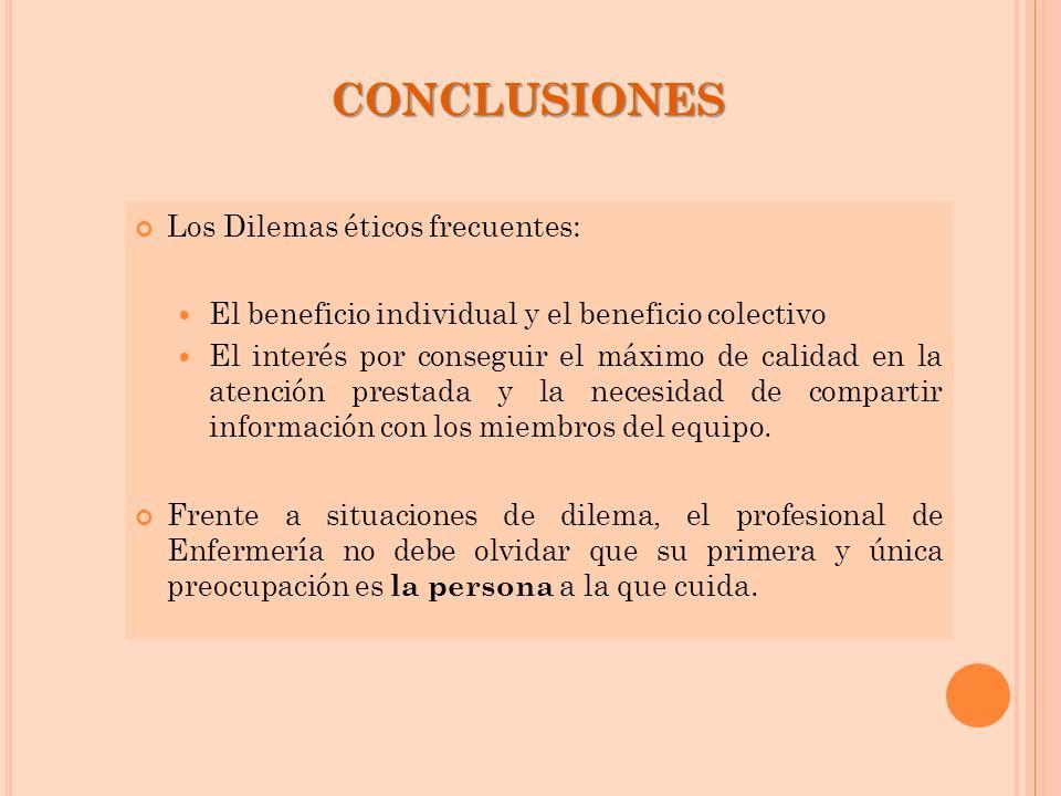 CONCLUSIONES Los Dilemas éticos frecuentes: El beneficio individual y el beneficio colectivo El interés por conseguir el máximo de calidad en la atenc