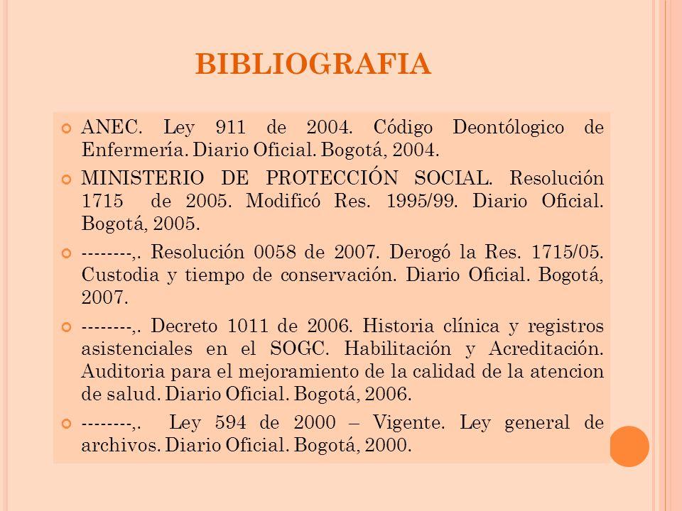 BIBLIOGRAFIA ANEC. Ley 911 de 2004. Código Deontólogico de Enfermería. Diario Oficial. Bogotá, 2004. MINISTERIO DE PROTECCIÓN SOCIAL. Resolución 1715
