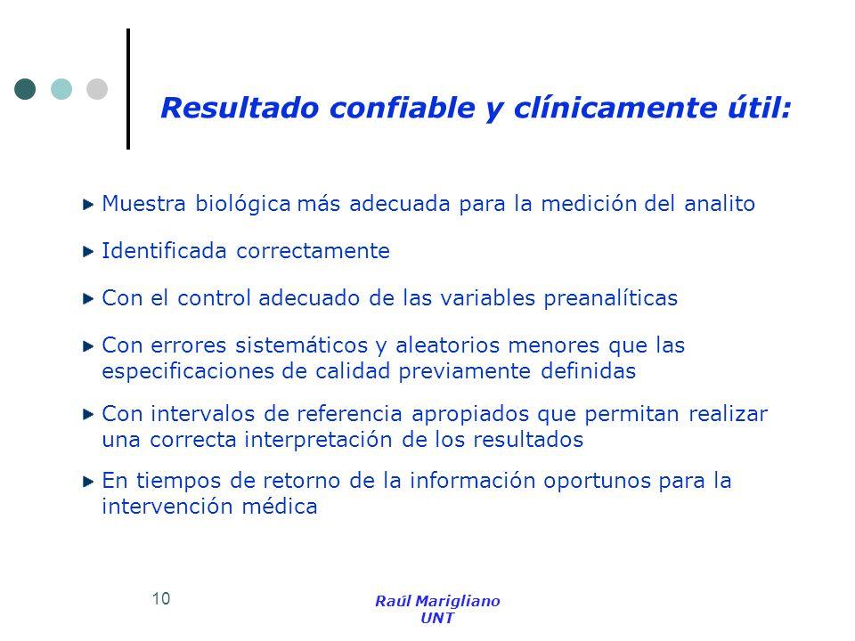 10 Resultado confiable y clínicamente útil: Muestra biológica más adecuada para la medición del analito Identificada correctamente Con el control adec