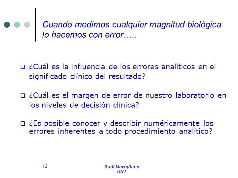 12 ¿Cuál es la influencia de los errores analíticos en el significado clínico del resultado? ¿Cuál es el margen de error de nuestro laboratorio en los