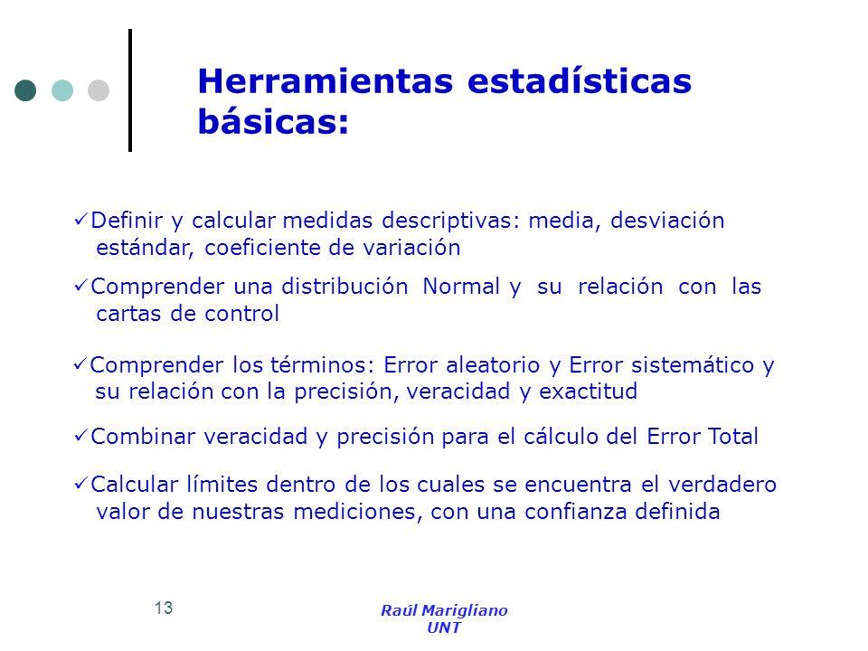 13 Herramientas estadísticas básicas: Definir y calcular medidas descriptivas: media, desviación estándar, coeficiente de variación Comprender una dis