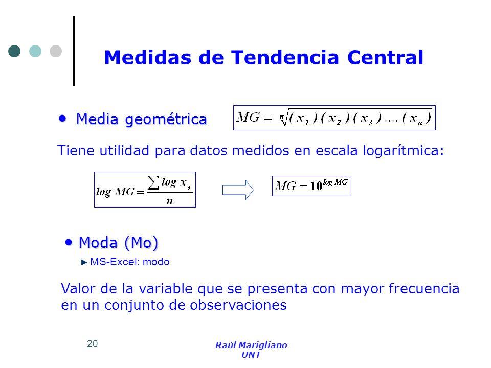 20 Media geométrica Media geométrica Moda (Mo) Moda (Mo) Tiene utilidad para datos medidos en escala logarítmica: Valor de la variable que se presenta