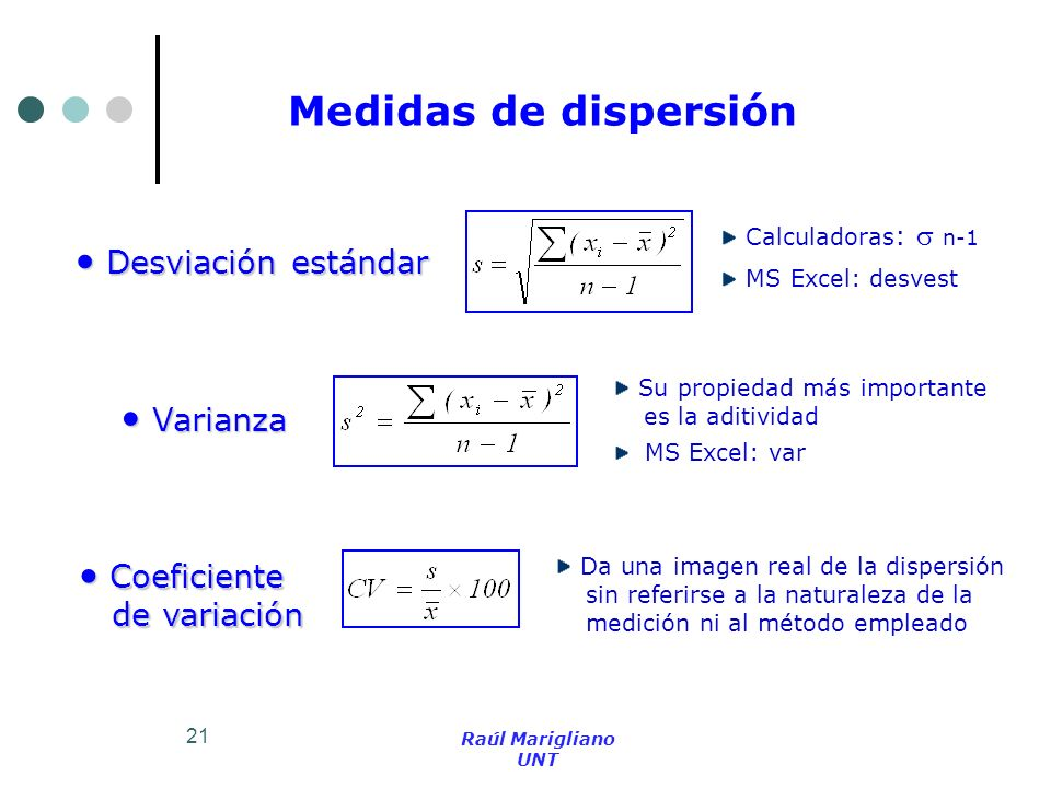 21 Medidas de dispersión Desviación estándar Desviación estándar Varianza Varianza Coeficiente Coeficiente de variación de variación Calculadoras : n-