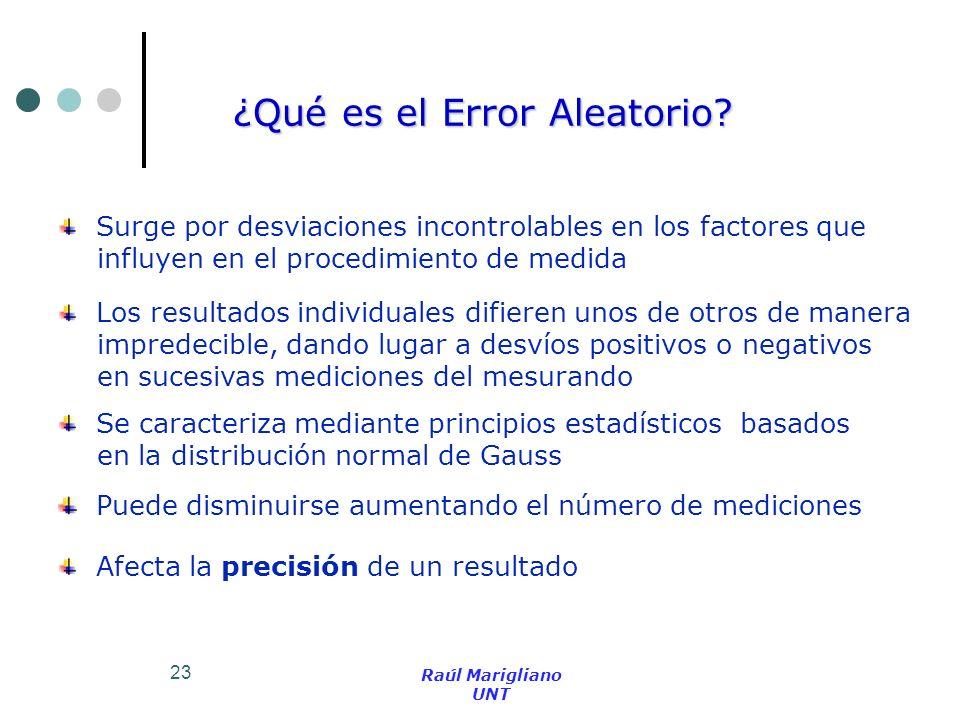 23 ¿Qué es el Error Aleatorio? Surge por desviaciones incontrolables en los factores que influyen en el procedimiento de medida Los resultados individ