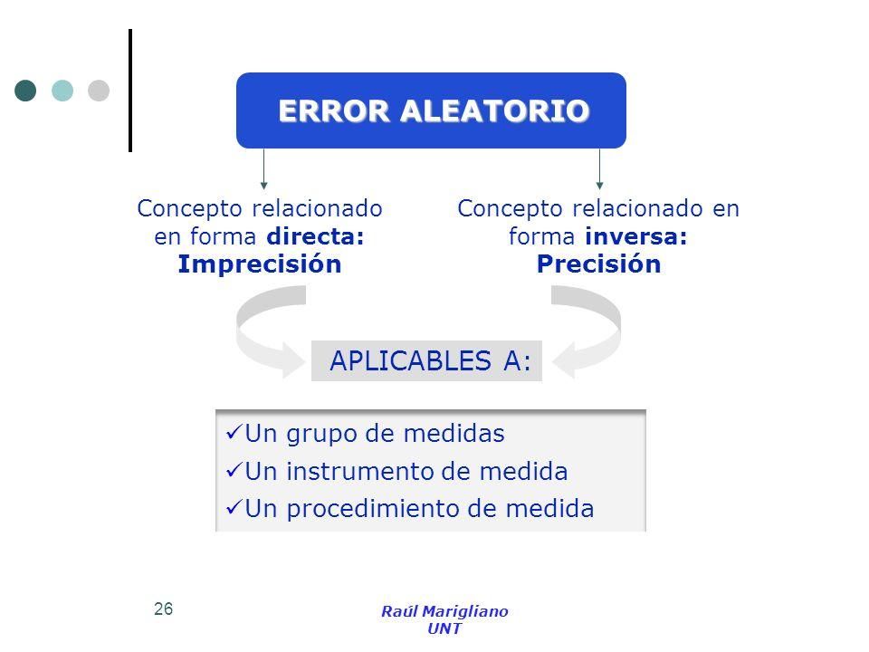 26 ERROR ALEATORIO Concepto relacionado en forma directa: Imprecisión Concepto relacionado en forma inversa: Precisión Un grupo de medidas Un instrume