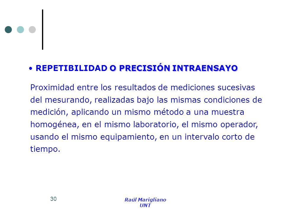 30 O PRECISIÓN INTRAENSAYO REPETIBILIDAD O PRECISIÓN INTRAENSAYO Proximidad entre los resultados de mediciones sucesivas del mesurando, realizadas baj