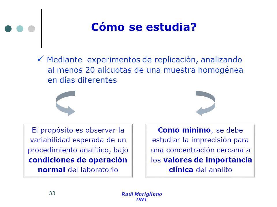 33 Cómo se estudia? Mediante experimentos de replicación, analizando al menos 20 alícuotas de una muestra homogénea en días diferentes El propósito es