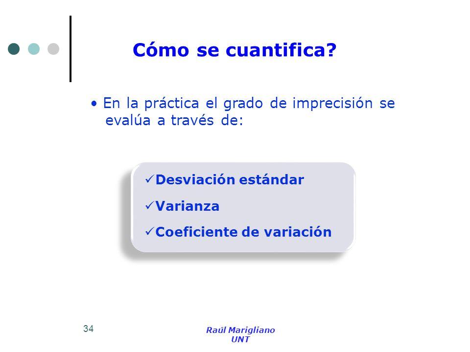 34 Cómo se cuantifica? En la práctica el grado de imprecisión se evalúa a través de: Desviación estándar Coeficiente de variación Varianza Raúl Marigl