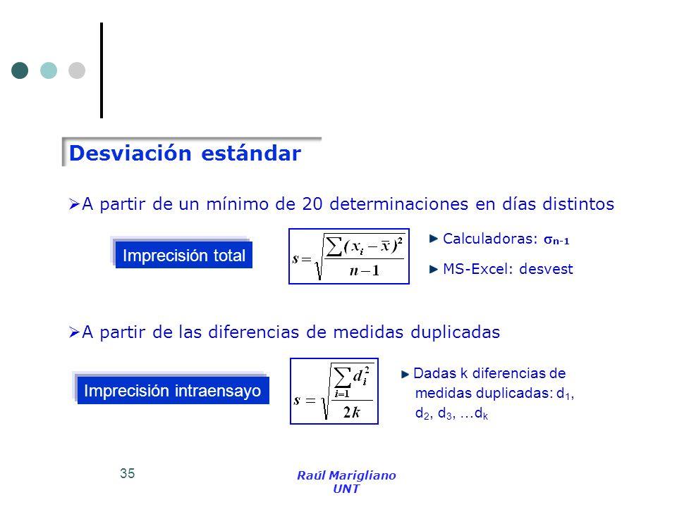 35 Desviación estándar Calculadoras: n-1 MS-Excel: desvest A partir de un mínimo de 20 determinaciones en días distintos Imprecisión total A partir de