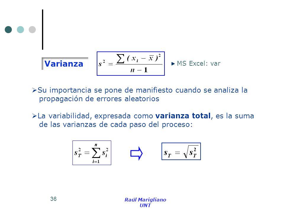 36 MS Excel: var La variabilidad, expresada como varianza total, es la suma de las varianzas de cada paso del proceso: Varianza Su importancia se pone