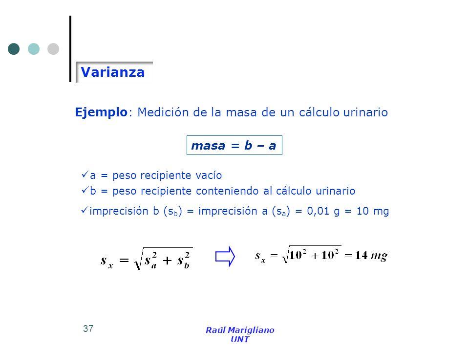 37 Ejemplo: Medición de la masa de un cálculo urinario Varianza masa = b – a imprecisión b (s b ) = imprecisión a (s a ) = 0,01 g = 10 mg a = peso rec