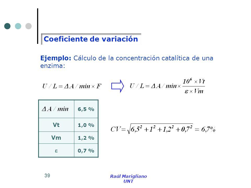 39 Ejemplo: Cálculo de la concentración catalítica de una enzima: 6,5 % Vt 1,0 % Vm 1,2 % 0,7 % Coeficiente de variación Raúl Marigliano UNT