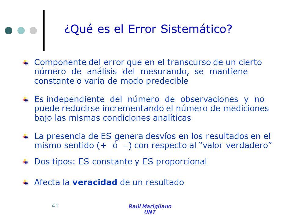 41 Componente del error que en el transcurso de un cierto número de análisis del mesurando, se mantiene constante o varía de modo predecible Es indepe
