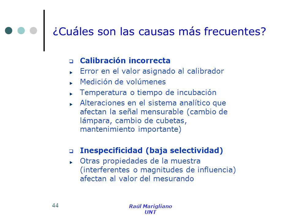 44 Calibración incorrecta Error en el valor asignado al calibrador Medición de volúmenes Temperatura o tiempo de incubación Alteraciones en el sistema