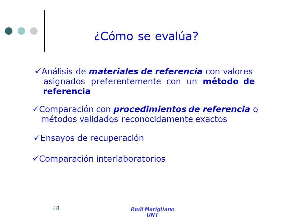 48 Comparación con procedimientos de referencia o métodos validados reconocidamente exactos Análisis de materiales de referencia con valores asignados