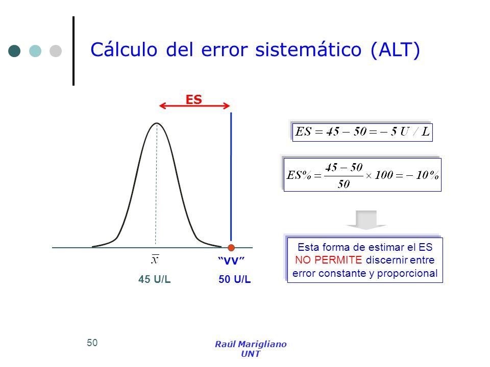 50 Cálculo del error sistemático (ALT) ES VV 45 U/L 50 U/L Esta forma de estimar el ES NO PERMITE discernir entre error constante y proporcional Raúl