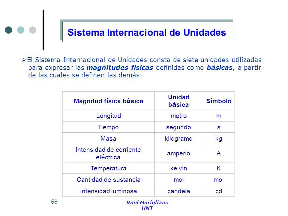 56 El Sistema Internacional de Unidades consta de siete unidades utilizadas para expresar las magnitudes físicas definidas como básicas, a partir de l