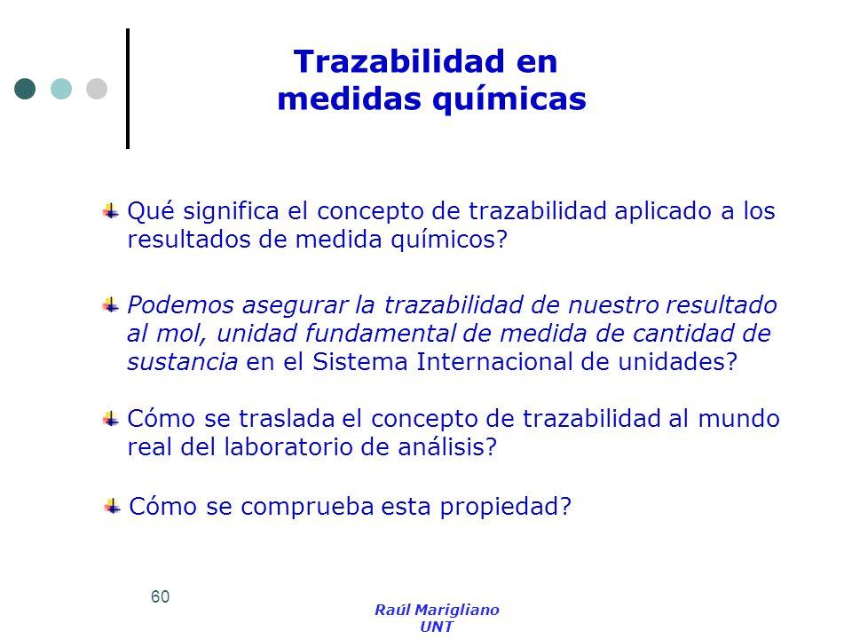 60 Trazabilidad en medidas químicas Qué significa el concepto de trazabilidad aplicado a los resultados de medida químicos? Podemos asegurar la trazab