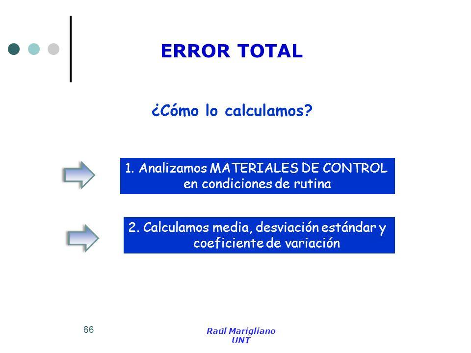 66 ¿Cómo lo calculamos? 1. Analizamos MATERIALES DE CONTROL en condiciones de rutina 2. Calculamos media, desviación estándar y coeficiente de variaci