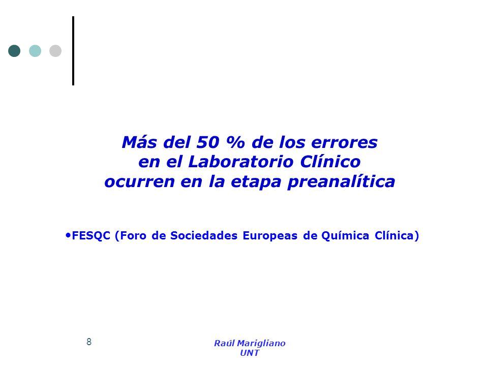 8 Más del 50 % de los errores en el Laboratorio Clínico ocurren en la etapa preanalítica Raúl Marigliano UNT FESQC (Foro de Sociedades Europeas de Quí