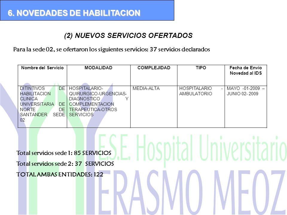 (2) NUEVOS SERVICIOS OFERTADOS 6. NOVEDADES DE HABILITACION Para la sede 02, se ofertaron los siguientes servicios: 37 servicios declarados Nombre del