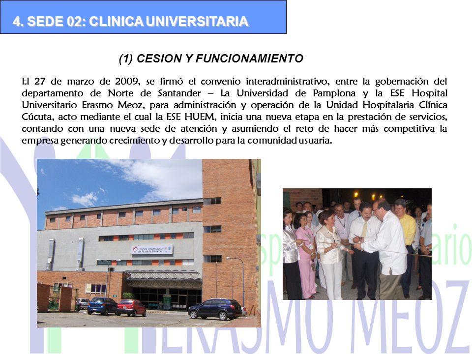 (1) CESION Y FUNCIONAMIENTO 4. SEDE 02: CLINICA UNIVERSITARIA El 27 de marzo de 2009, se firmó el convenio interadministrativo, entre la gobernación d