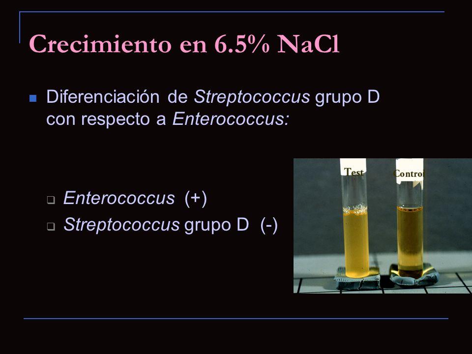 Crecimiento en 6.5% NaCl Diferenciación de Streptococcus grupo D con respecto a Enterococcus: Enterococcus (+) Streptococcus grupo D (-)
