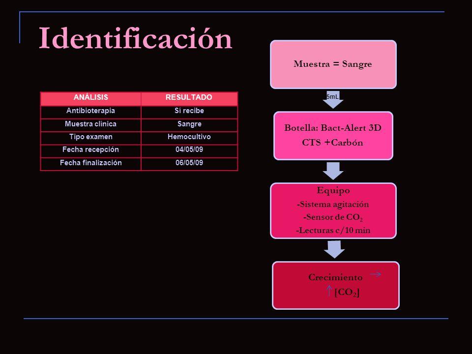 ANÁLISISRESULTADO AntibioterapiaSí recibe Muestra clínicaSangre Tipo examenHemocultivo Fecha recepción04/05/09 Fecha finalización06/05/09 Muestra = Sa