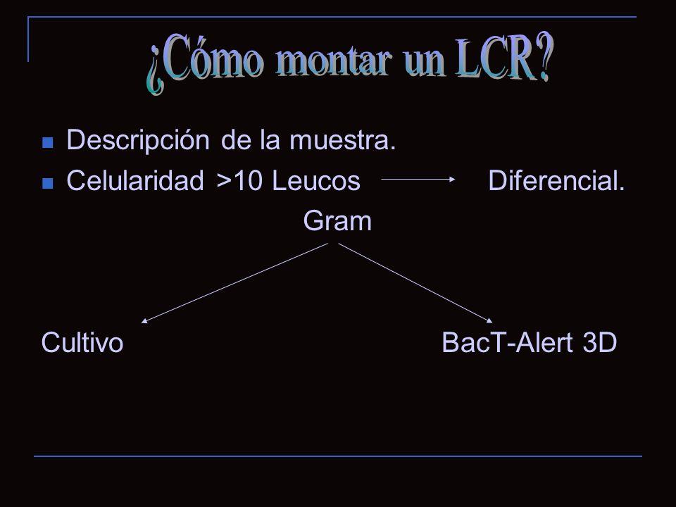 Descripción de la muestra. Celularidad >10 Leucos Diferencial. Gram Cultivo BacT-Alert 3D