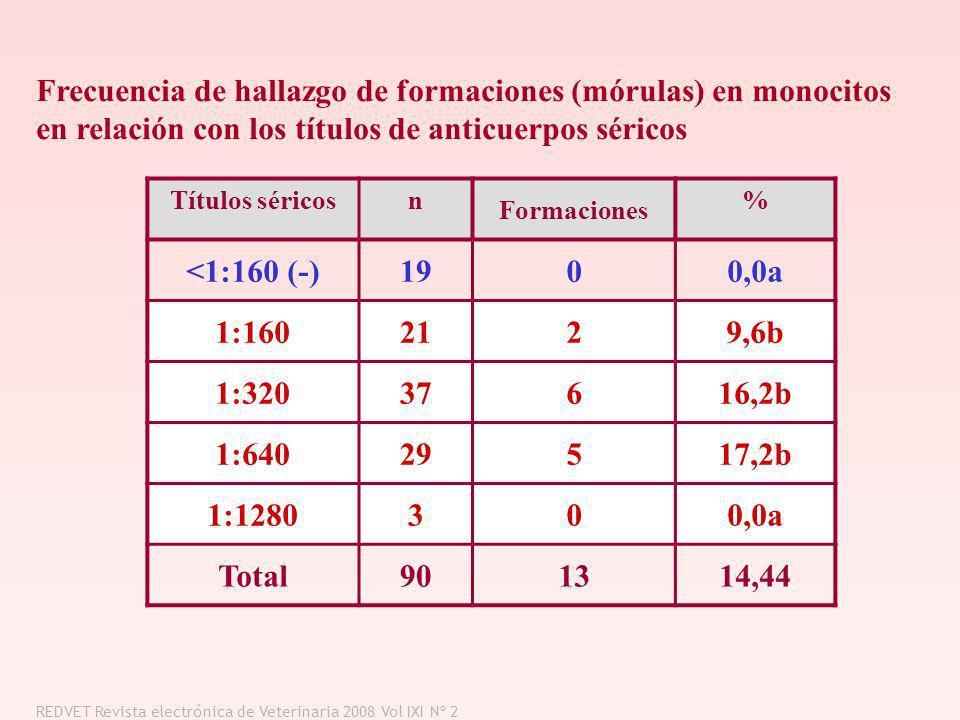 Títulos séricosn Formaciones % <1:160 (-)1900,0a 1:1602129,6b 1:32037616,2b 1:64029517,2b 1:1280300,0a Total901314,44 Frecuencia de hallazgo de formac