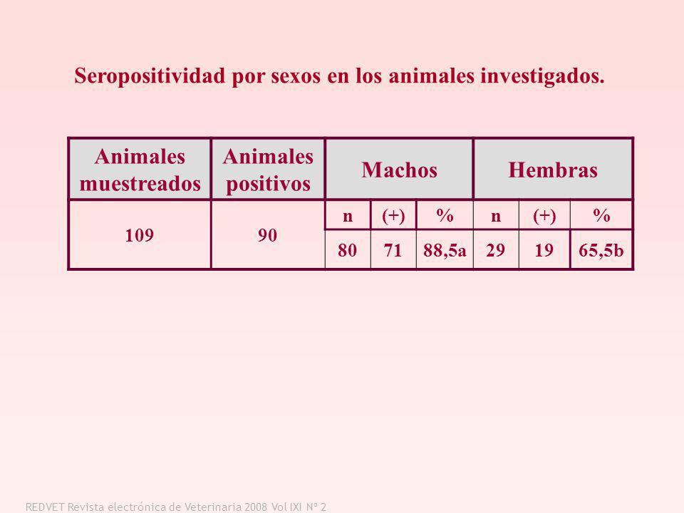 Animales muestreados Animales positivos MachosHembras 10990 n(+)%n % 807188,5a291965,5b Seropositividad por sexos en los animales investigados. REDVET