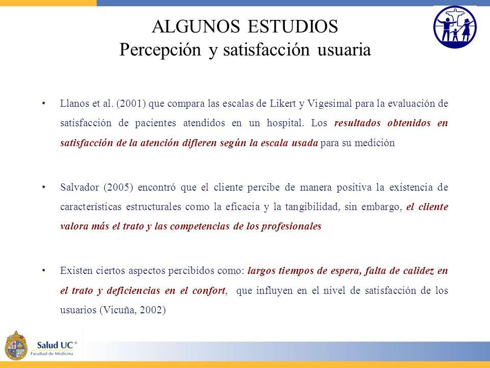 ALGUNOS ESTUDIOS Percepción y satisfacción usuaria Llanos et al. (2001) que compara las escalas de Likert y Vigesimal para la evaluación de satisfacci