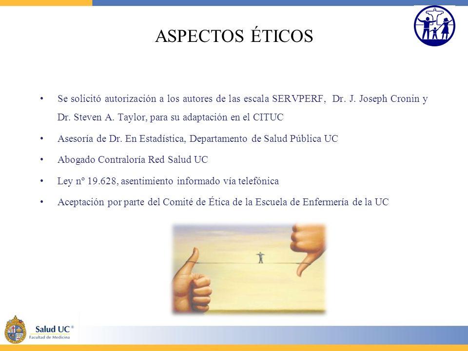 ASPECTOS ÉTICOS Se solicitó autorización a los autores de las escala SERVPERF, Dr. J. Joseph Cronin y Dr. Steven A. Taylor, para su adaptación en el C