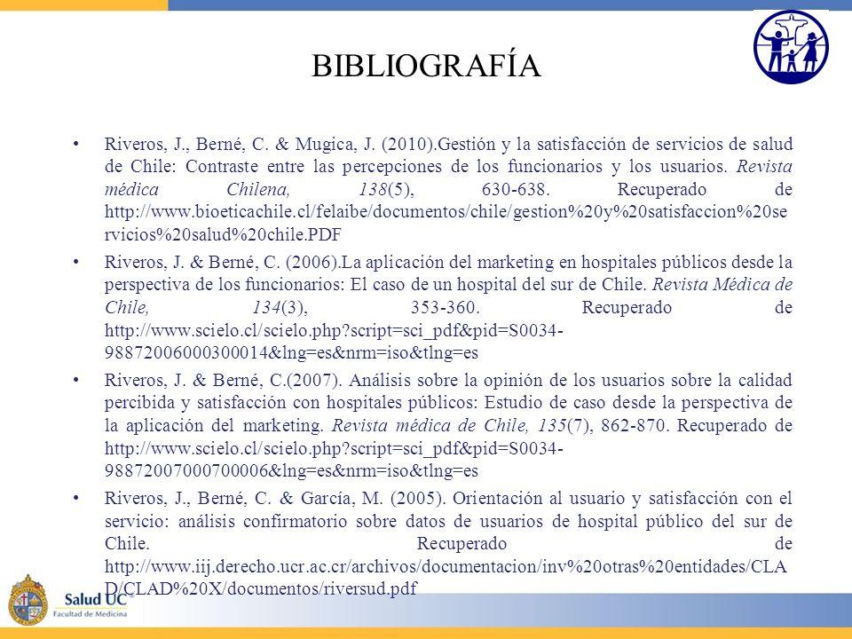 BIBLIOGRAFÍA Riveros, J., Berné, C. & Mugica, J. (2010).Gestión y la satisfacción de servicios de salud de Chile: Contraste entre las percepciones de