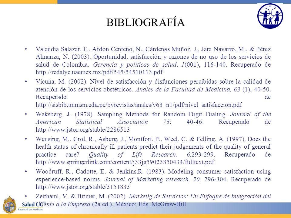 BIBLIOGRAFÍA Valandia Salazar, F., Ardón Centeno, N., Cárdenas Muñoz, J., Jara Navarro, M., & Pérez Almanza, N. (2003). Oportunidad, satisfacción y ra