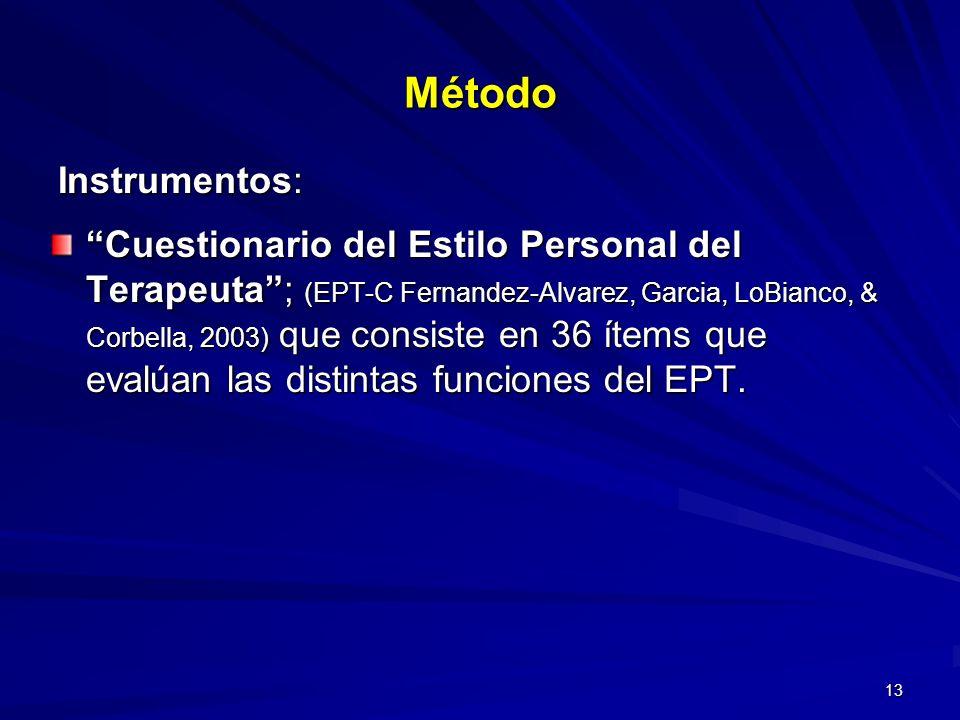 13 Cuestionario del Estilo Personal del Terapeuta; (EPT-C Fernandez-Alvarez, Garcia, LoBianco, & Corbella, 2003) que consiste en 36 ítems que evalúan