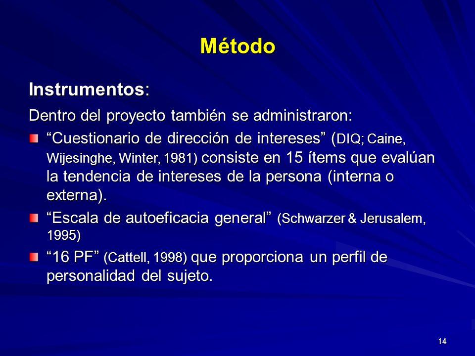 14 Método Instrumentos: Dentro del proyecto también se administraron: Cuestionario de dirección de intereses ( DIQ; Caine, Wijesinghe, Winter, 1981) c