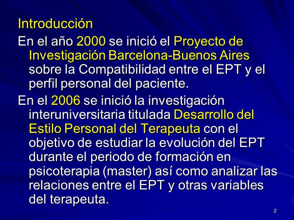 2 Introducción En el año 2000 se inició el Proyecto de Investigación Barcelona-Buenos Aires sobre la Compatibilidad entre el EPT y el perfil personal