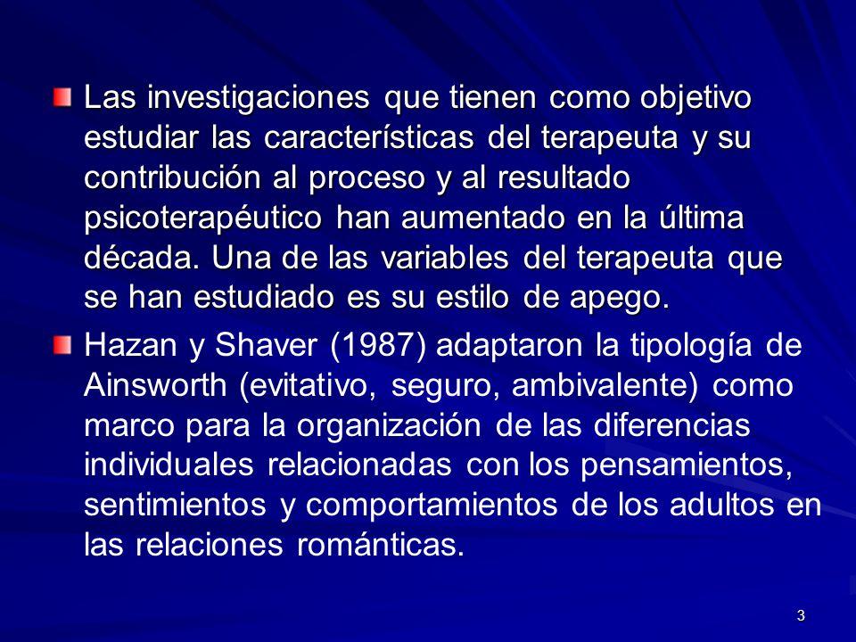 3 Las investigaciones que tienen como objetivo estudiar las características del terapeuta y su contribución al proceso y al resultado psicoterapéutico
